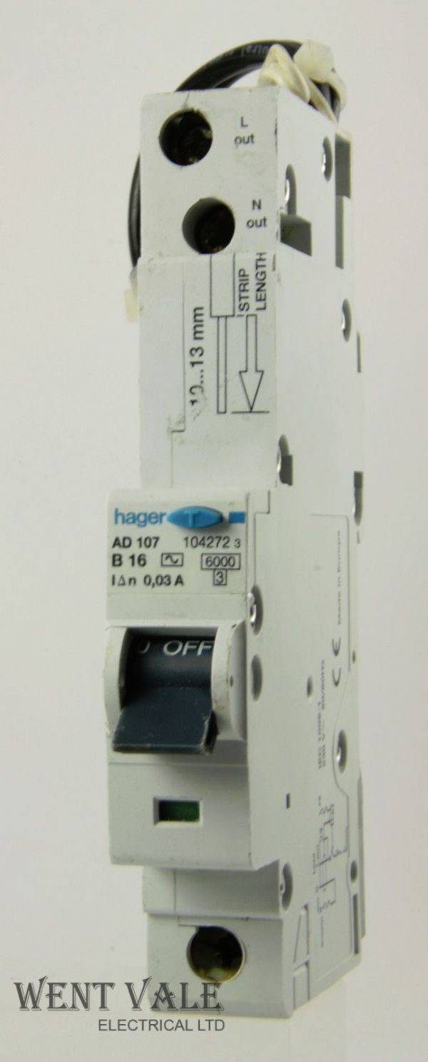 Hager - AD107 - 16a 30mA Type B Single Pole RCBO Used
